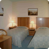 Twin bedroom in downtown hotel