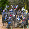 Stag party are ready for paintballing and have a lot of fun